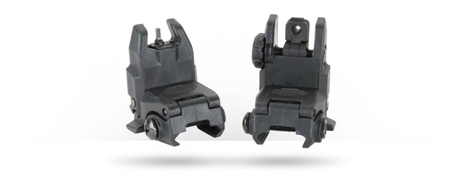 Front & Rear Tactical Flip Up Sights (Spring-Loaded), Black